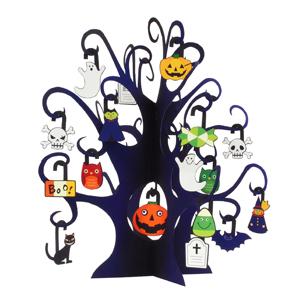 Papercraft de árbol de Halloween con fantasmas. Manualidades a Raudales.