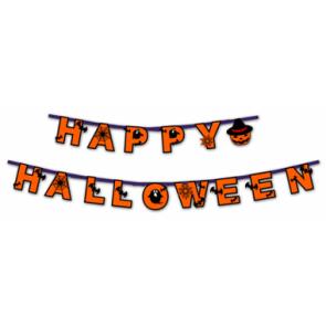 Imprimible de un Banner Happy Halloween. Manualidades a Raudales.