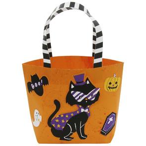 Papercraft de una Bolsa de Halloween naranja. Manualidades a Raudales.