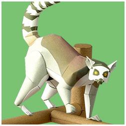 Papercraft de un lemur de cola anillada. Manualidades a Raudales.