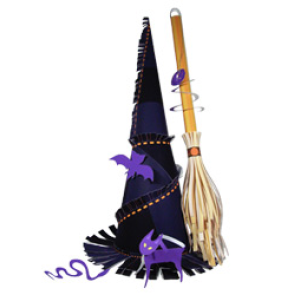 Papercraft imprimible y armable de un sombrero y escoba para Halloween. Manualidades a Raudales.