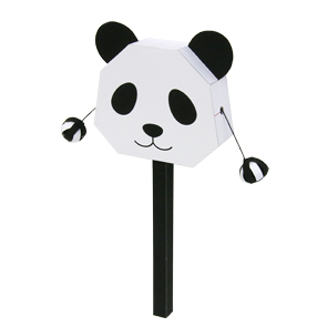 Papercraft imprimible y armable de un Tambor sonajero de oso panda. Manualidades a Raudales.