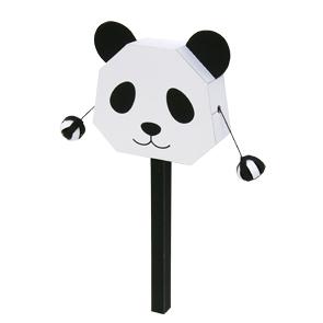 Papercraft de un Tambor sonajero de oso panda. Manualidades a Raudales.
