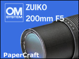 Papercraft imprimible y armable de Cámara fotográfica Olympus Zoom 200 mm. Manualidades a Raudales.