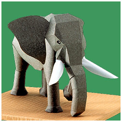 Papercraft del elefante africano. Manualidades a Raudales.
