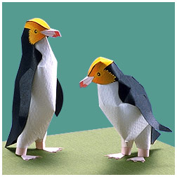 Papercraft del Pinguino de ojo amarillo. Manualidades a Raudales.