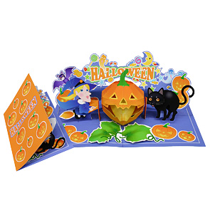 Tarjeta desplegable de Halloween. Manualidades a Raudales.