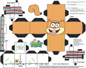Cubeecraft de Arenita personaje de Bob Esponja. Manualidades a Raudales.
