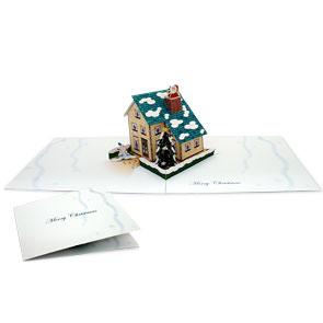 Tarjeta desplegable de casa navideña. Manualidades a Raudales.