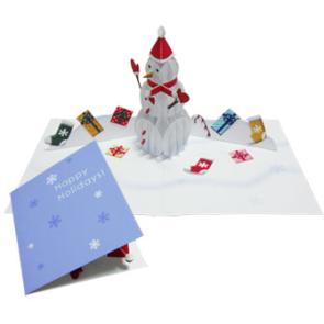 Tarjeta desplegable con un muñeco de nieve. Manualidades a Raudales.