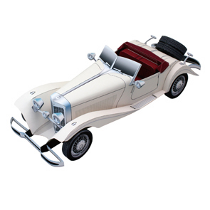 Papercraft imprimible y recortable del coche Mercedes 500K. Manualidades a Raudales.