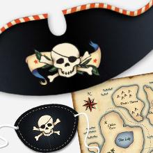 Papercraft de un Kit de fiesta de piratas. Manualidades a Raudales.