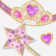 Papercraft de accesorios para fiesta de princesa / Kit princess party. Manualidades a Raudales.