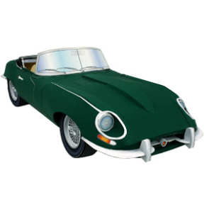 Papercraft imprimible y armable del coche Jaguar tipo E. Manualidades a Raudales.