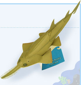 Papercraft imprimible y armable del Pez Sierra Enano / Dwarf Sawfish. Manualidades a Raudales.
