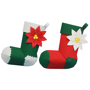 Papercraft de un Adorno de calcetines para Navidad. Manualidades a Raudales.