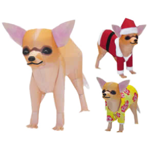 Papercraft imprimible y armable de un Chihuahua. Manualidades a Raudales.