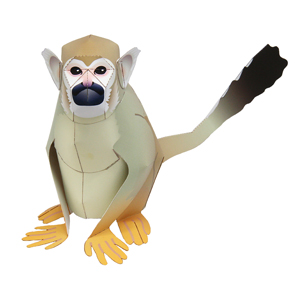 Papercraft de un Mono ardilla. Manualidades a Raudales.