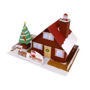 Papercraft recortable de una Casa navideña. Manualidades a Raudales.