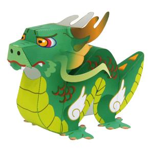 Papercraft recortable y armable de un dragón. Manualidades a Raudales.