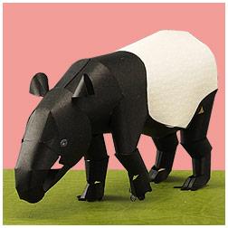 Papercraft del Tapir Malayo. Manualidades a Raudales.