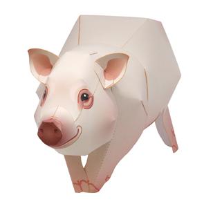 Papercraft de un Cerdo enano. Manualidades a Raudales.