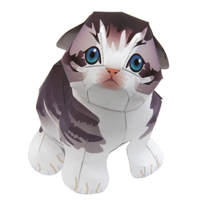 Papercraft imprimible y armable de un Gato Scottish Fold. Manualidades a Raudales.