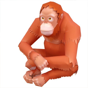 Papercraft de un Orangután. Manualidades a Raudales.
