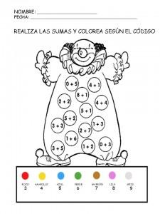 Colorear con sumas 05. Manualidades a Raudales.