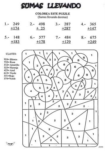 Colorear con operaciones matemáticas - Manualidades a Raudales