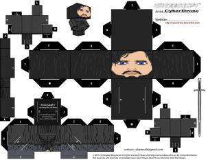 Cubeecraft de Jon Snow de Juego de Tronos.