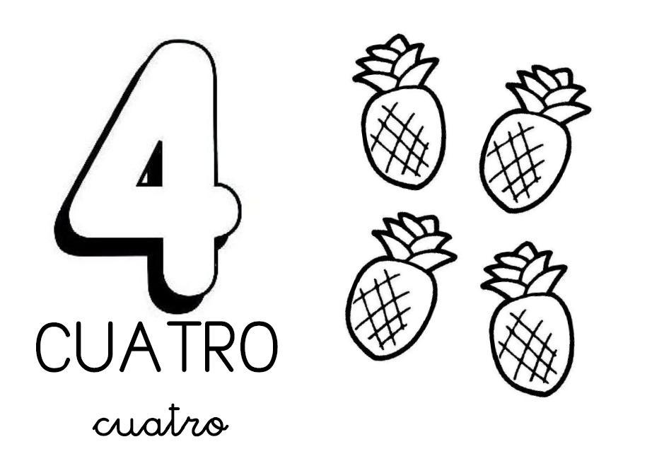 Dibujos De Los Numeros Del 1 Al 10 Para Colorear: Numero 4. Manualidades A Raudales.