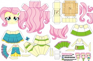 Papercraft de Fluttershy. Manualidades a Raudales.