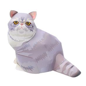 Papercraft de un gato exótico de pelo corto. Manualidades a Raudales.