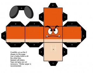 Cubeecraft de Nintendo Goomba. Manualidades a Raudales.