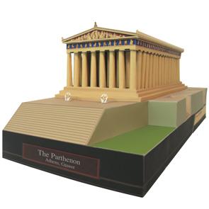 Papercraft building imprimible y armable del Partenón en Grecia. Manualidades a Raudales.