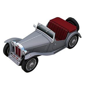 Papercraft imprimible y armable del coche Morris Garages TC Midget. Manualidades a Raudales.