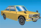 Papercraft imprimible y armable del Nissan Bluebird 510. Manualidades a Raudales.