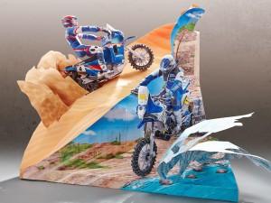 Maqueta 3D diorama de motocros Yamaha. Manualidades a Raudales.