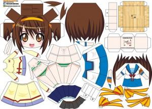 Papercraft de Anime - Haruhi Suzumiya. Manualidades a Raudales.