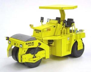 Papercraft imprimible y armable de la apisonadora GW750 Sakai. Manualidades a Raudales.