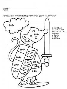 Suma resta y colorea. Operaciones matemáticas. Manualidades a Raudales.