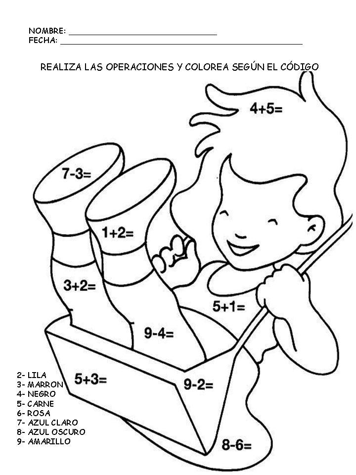 Colorear Con Operaciones Matemáticas Manualidades A Raudales