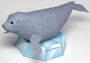 Papercraft imprimible y armable de una foca / seal. manualidades a Raudales.