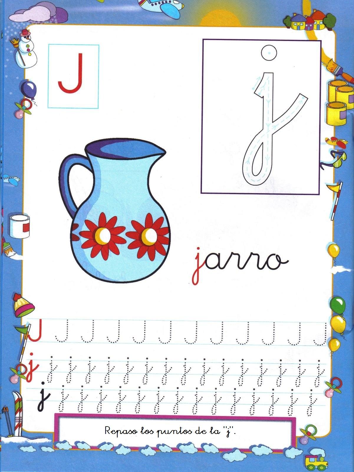 Grafomotricidad letra j - Manualidades a Raudales