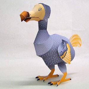 Papercraft imprimible y recortable del pájaro Dodo. Manualidades a Raudales.