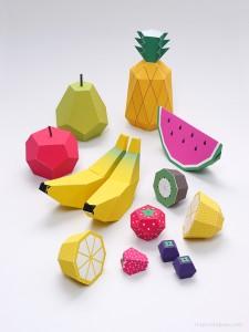 Papercraft imprimible y armable de frutas. Manualidades a Raudales.