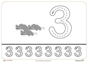 Grafomotricidad del número 3.