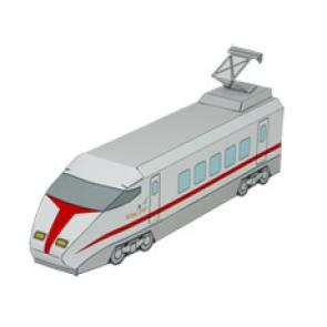 Papercraft de un Tren expreso (locomotora) / Express train (front car). Manualidades a Raudales.