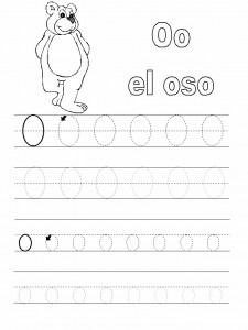 Ficha educativa de Grafomotricidad letra o.